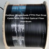 Outdoor Singlemode FTTH Flat Drop Cable With